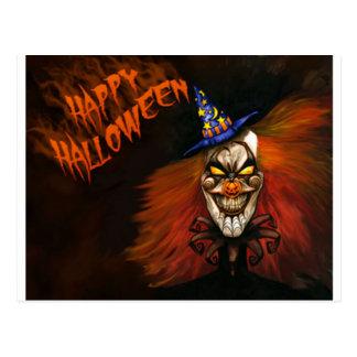 Glücklicher beängstigender Clown Halloweens Postkarte