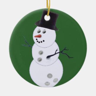 Glücklicher Bowlidays Schneemann Rundes Keramik Ornament