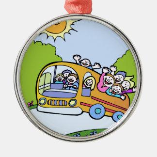 Glücklicher Bus-Reiter-Cartoon Silbernes Ornament
