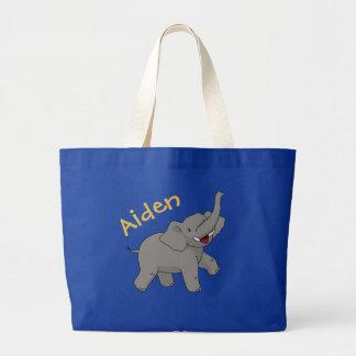 Glücklicher Elefant-personalisierte Taschen-Tasche Jumbo Stoffbeutel