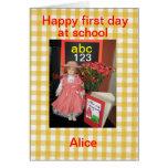 Glücklicher erster Tag an der Schule Alice Grußkarte