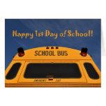 Glücklicher erster Tag des Schulbusses Grußkarten