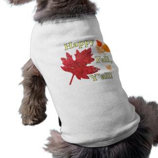 Glücklicher Fall verfolgen Sie T-Stück Ärmelfreies Hunde-Shirt