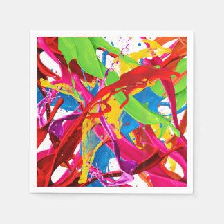 Glücklicher Farben-Spritzer Papierserviette