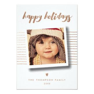 Glücklicher Feiertags-WeihnachtsFoto-Bronzegruß Karte