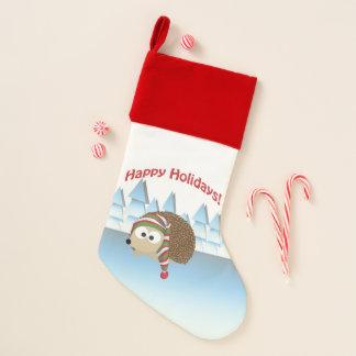 Glücklicher Feiertags-Winter-Igel Weihnachtsstrumpf