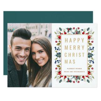 Glücklicher Foto-Feiertags-flache Karte der frohen 12,7 X 17,8 Cm Einladungskarte