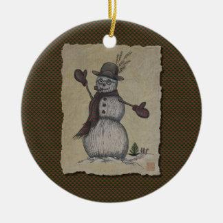 Glücklicher freundlicher Schneemann Keramik Ornament
