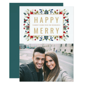 Glücklicher fröhlicher   Foto-Feiertags-flache 12,7 X 17,8 Cm Einladungskarte