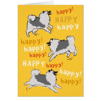 Glücklicher glücklicher Keeshond Mitteilungskarte