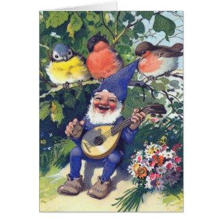 Glücklicher Gnome mit Vögeln Karte