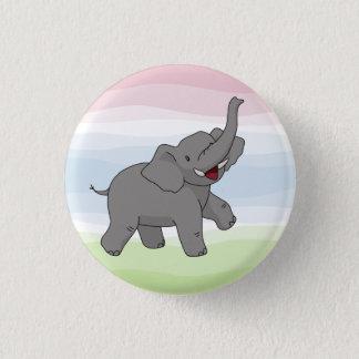 Glücklicher grauer Elefant-Knopf Runder Button 3,2 Cm