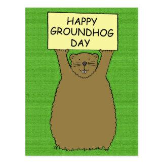 Glücklicher Groundhog Tag Postkarte