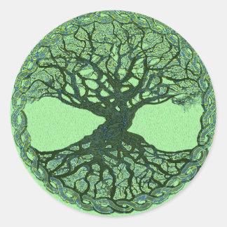 Glücklicher grüner Baum des Lebens Runder Aufkleber