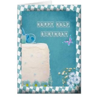 Glücklicher halber Geburtstags-Kuchen Grußkarte