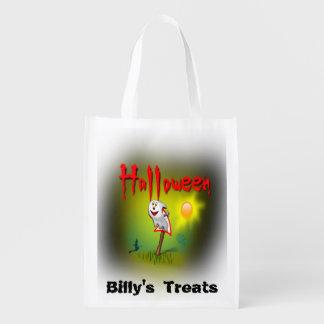 Glücklicher Halloween-Geist fertigen den Namen Ihr Wiederverwendbare Einkaufstasche