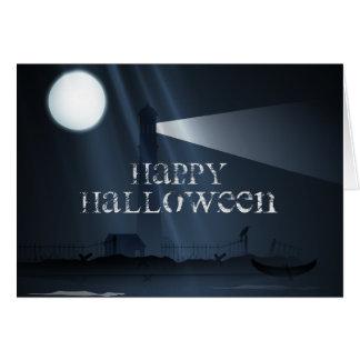 Glücklicher Halloween-Leuchtturm an der Karte