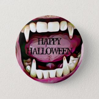 Glücklicher Halloween-Vampirs-Reißzahn-Knopf Runder Button 5,7 Cm