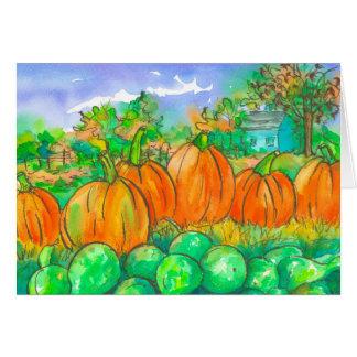 Glücklicher Herbst-Jahreszeit-Kürbis-Flecken Grußkarte