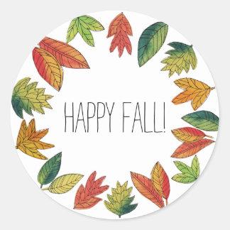 Glücklicher Herbstlaub Runder Aufkleber