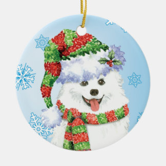 Glücklicher Howliday Eskimohund Keramik Ornament