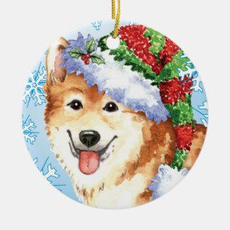 Glücklicher Howlidays Isländer-Schäferhund Keramik Ornament