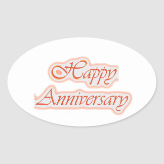 GLÜCKLICHER Jahrestag: Elegante Ovaler Aufkleber