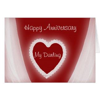Glücklicher Jahrestag mein süßes romantisches Karte