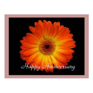 Glücklicher Jahrestag orange Gerberagänseblümchen Postkarte
