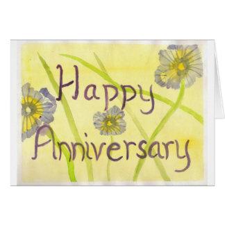 Glücklicher Jahrestags-lila Blumen Karte
