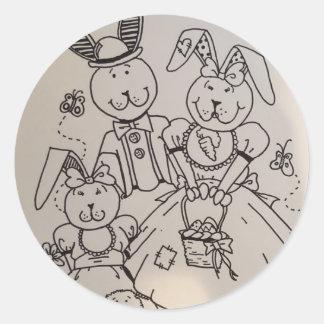 Glücklicher Kaninchen-Familien-Aufkleber Runder Aufkleber