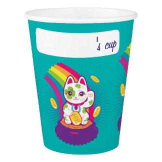 Glücklicher Katze Maneki Neko viel Glück-Topf Gold Pappbecher