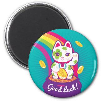Glücklicher Katze Maneki Neko viel Glück-Topf Gold Runder Magnet 5,1 Cm