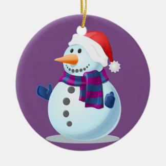 Glücklicher kleiner Snowman auf lila Hintergrund Keramik Ornament