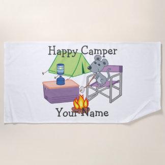 Glücklicher Lagerbewohner-personalisierte Strandtuch