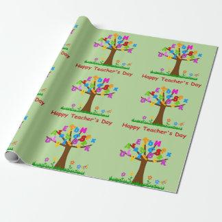 Glücklicher Lehrer-Tagesalphabet-Baum Geschenkpapier
