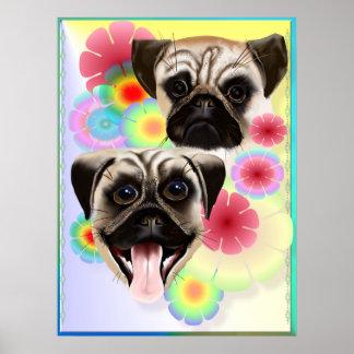 Glücklicher Mops Grouchy Mops-Sehr helles Blumen Poster