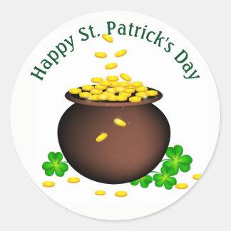 Glücklicher Münzentopf St. Patricks Tages Runder Aufkleber