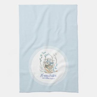 Glücklicher niedlicher Osterhasen-Korb Ostern Handtuch