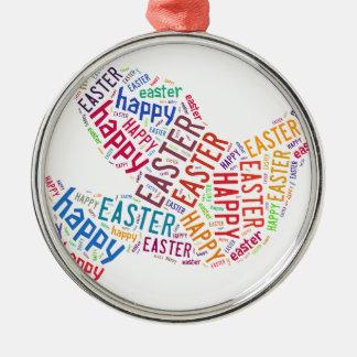 Glücklicher Ostern-Tauben-Gruß-Text Rundes Silberfarbenes Ornament