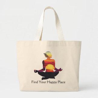 Glücklicher Platz-Yoga-Pose-Sonnenuntergang Jumbo Stoffbeutel
