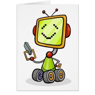 Glücklicher Roboter auf Rad-Gruß-Karten Karte