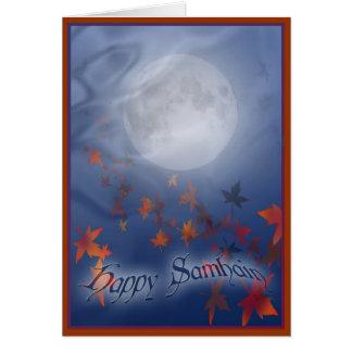 Glücklicher Samhain Mond u. Schleier Karte