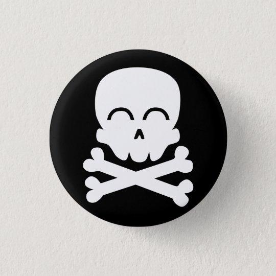Glücklicher Schädel Runder Button 2,5 Cm