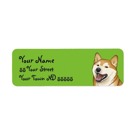 Glücklicher Shiba Inu Hundejapanische Rücksendeetikett