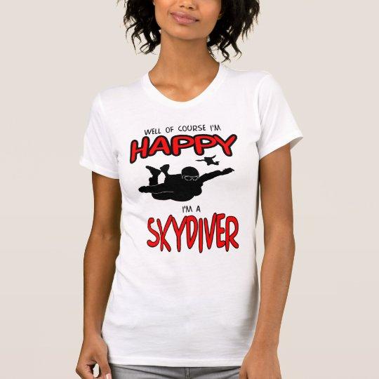 Glücklicher Skydiver (Schwarzes) T-Shirt