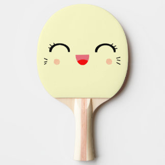 glücklicher Smiley niedlichen kawaii Cartoon Tischtennis Schläger