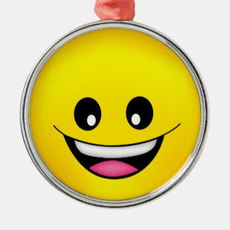 Glücklicher Smiley Silbernes Ornament
