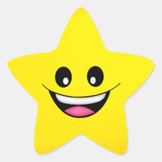 Glücklicher Smiley Stern-Aufkleber