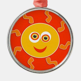 Glücklicher Sun-Cartoon Silbernes Ornament